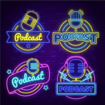Коллекция логотипов неоновых подкастов