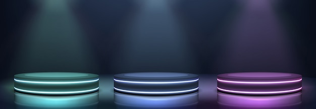 Neon podiums glowing in darkness realistic vector