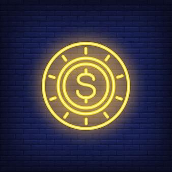 ネオンポーカーチップ、ドル記号入り。夜の明るい広告のためのギャンブルのコンセプト