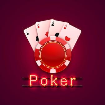 Неоновые фишки для покера и карты казино баннер. изолированные на красном фоне. векторная иллюстрация