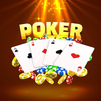 Neon poker chips and cards casino banner. isolated on gold background. vector illustration