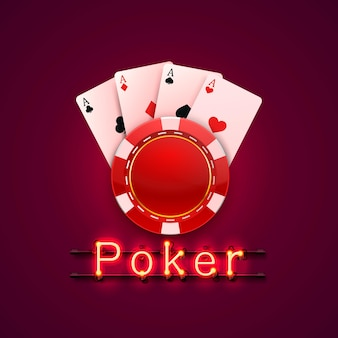 Neon poker chips and cards casino banner. isolated on red background. vector illustration