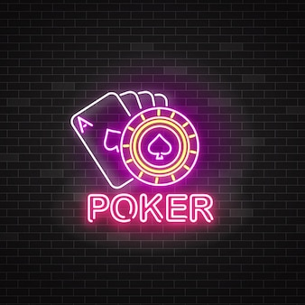 Neon poker sign with playing cards and roulette