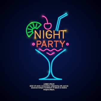 The neon poster night party. advertising travel on vacation to the sea.