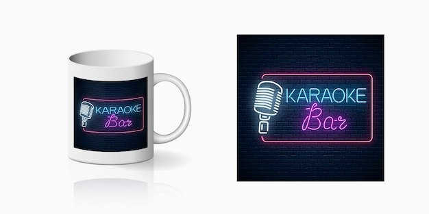Neon print of karaoke music bar on cup