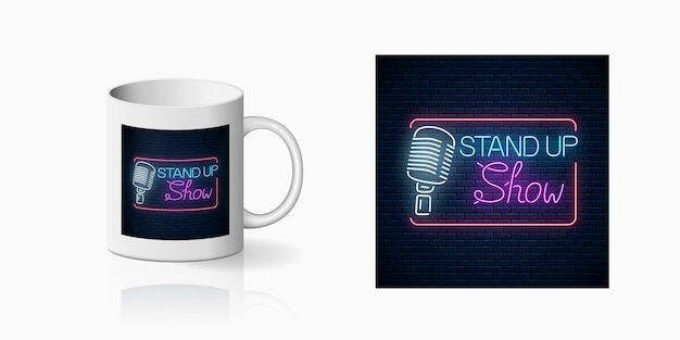 Neon print of stand up show sign with retro microphone on cup mockup. design on mug of a nightclub with comedy battle