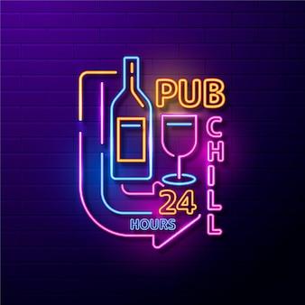 Insegna al neon del pub freddo