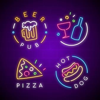 Collezione di insegne al neon per pub o ristoranti
