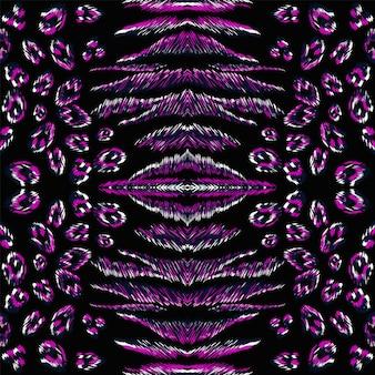 네온 푸마 피부 벡터 완벽 한 패턴입니다. 보라색 푸마 밝은 아프리카 배경. 어두운 동물의 피부 야생 패턴입니다. 아프리카 추상 표범 디자인. 보라색 동물 그림