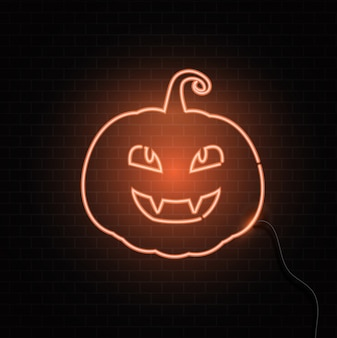 Neon pumpkin sign Halloween background