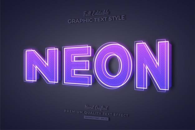 Neon purple 3d editable text effect font style