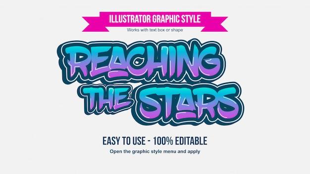 Neon purple and blue brush graffiti editable typography