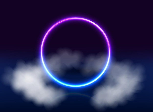 Neon purple and blue circle background