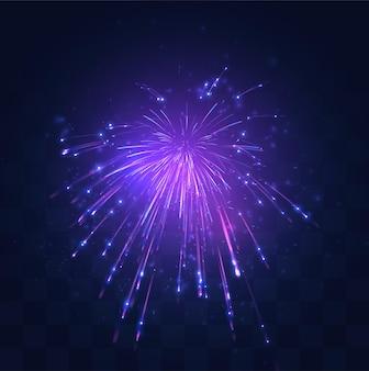 교체 가능한 모자이크 배경, 휴일 개념에 불꽃 놀이의 네온, 보라색 버스트