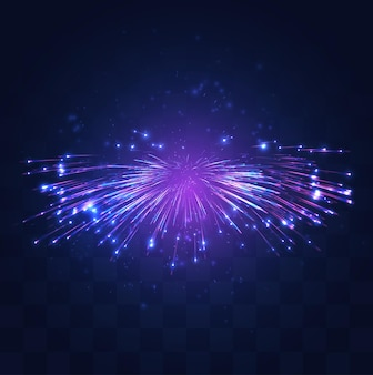 Неоновая, фиолетовая вспышка фейерверков на сменном мозаичном фоне, концепция праздника