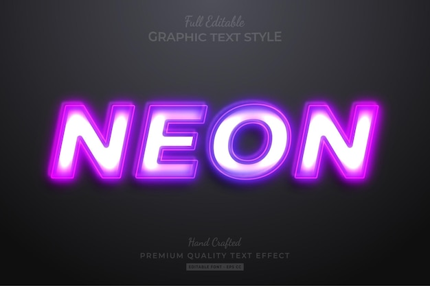 Neon purple editable text effect font style