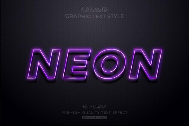 Neon purple editable text effect font style