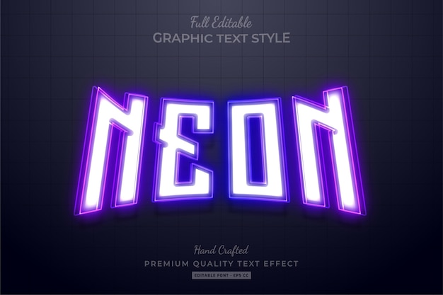 Neon purple editable text effect