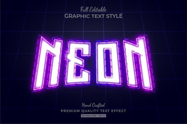 Neon purple editable text effect