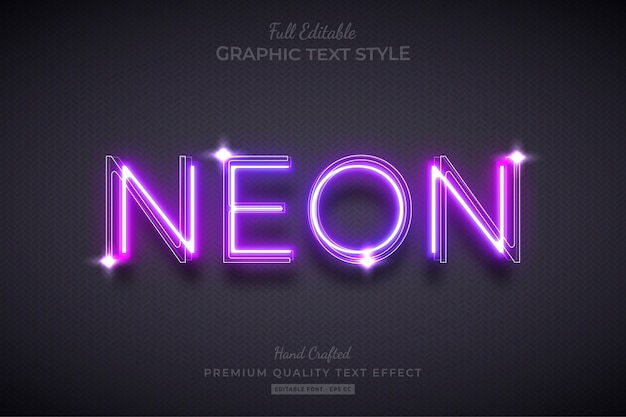 Neon purple editable text style effect
