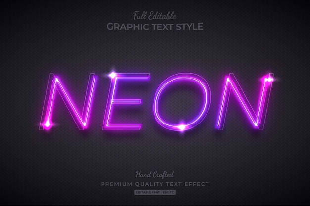 Neon purple glow editable text effect font style