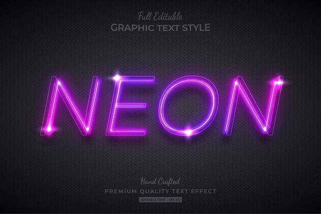 네온 퍼플 글로우 편집 가능한 텍스트 효과 글꼴 스타일