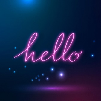 Neon purple hello sign on a galaxy background
