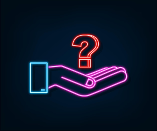 Neon question mark in hands for concept design technology vector illustration