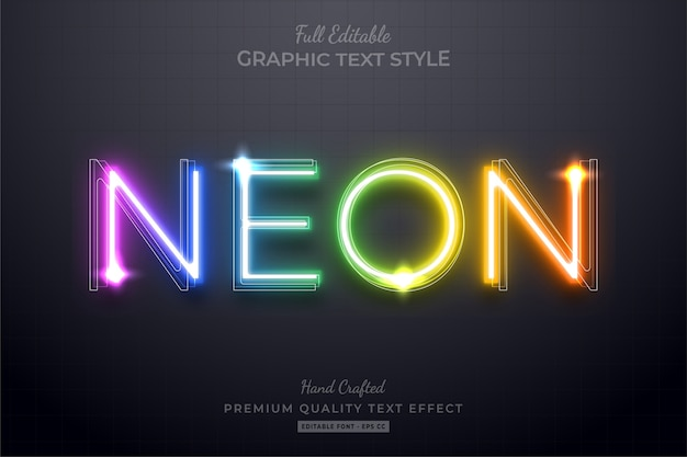 Neon rainbow editable text effect font style