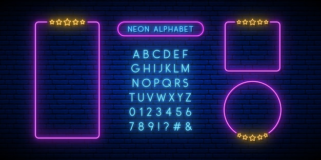 Neon rating sign and alphabet.