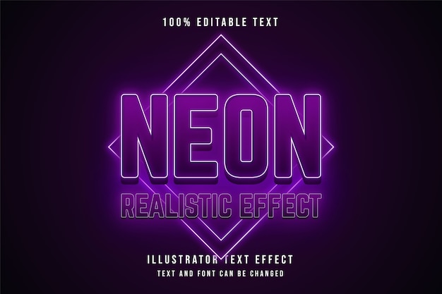 ネオンリアル効果、3d編集可能なテキスト効果ピンクグラデーション紫ネオン効果