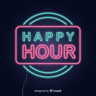 Neon rectangle happy hour sign