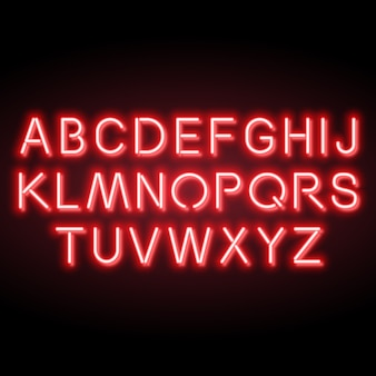 Neon red vector alphabet
