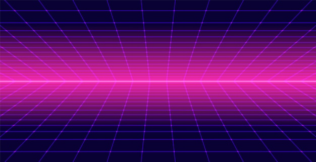 Neon retro 3d background landscape 80s