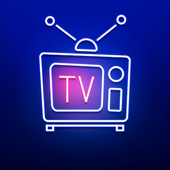 Neon retro tv logo with red blue color on smooth wall .