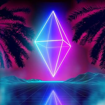 Neon rhombus on retro background landscape glowing rhombus cosmos poster neon light box cube