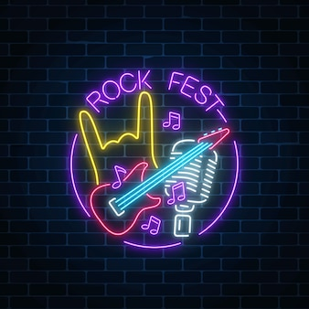 Neon rock festival sign with guitar, microphone and rock gesture in round frame.