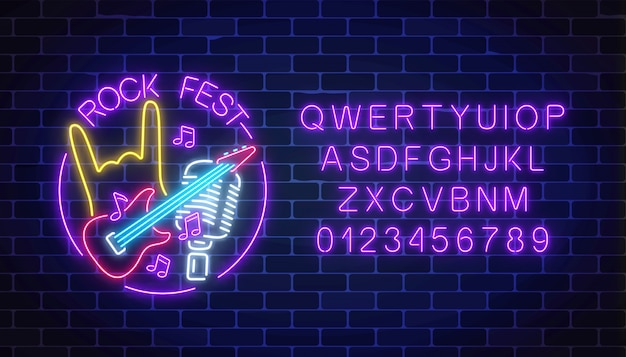 Neon rock festival sign with guitar, microphone and rock gesture in round frame