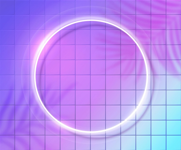 Neon round frame on ultraviolet tiles wall, white glowing frame. tropic palm leaves shadow overlay. trendy electric background futuristic design.