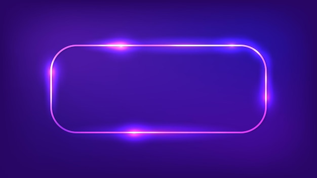 Neon rounded rectangular frame with shining effects on dark background. empty glowing techno backdrop. vector illustration.