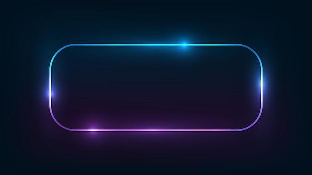 Неоновая округлая прямоугольная рамка с сияющими эффектами на темном фоне. пустой светящийся фон техно. векторная иллюстрация.
