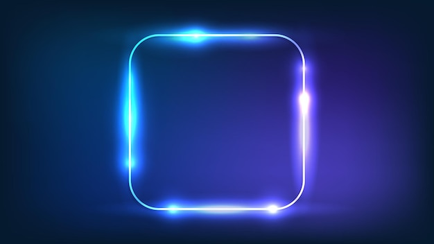 Neon rounded square frame with shining effects on dark background. empty glowing techno backdrop. vector illustration.