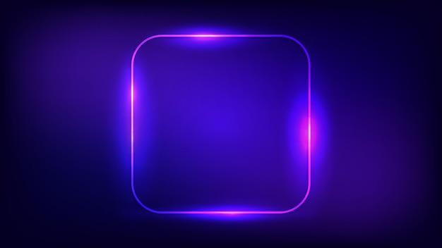 Неоновая округлая квадратная рамка с сияющими эффектами на темном фоне. пустой светящийся фон техно. векторная иллюстрация.