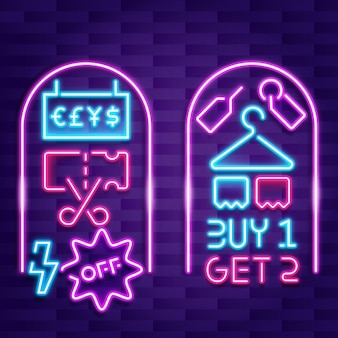 Neon sale sign with offer
