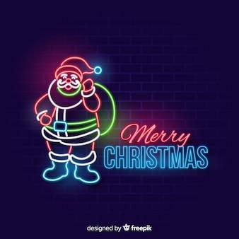 Neon santa claus background