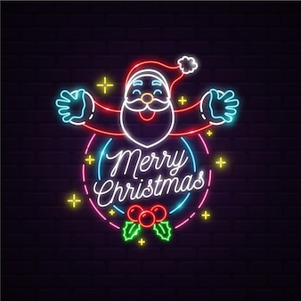 Neon santa claus with merry christmas message