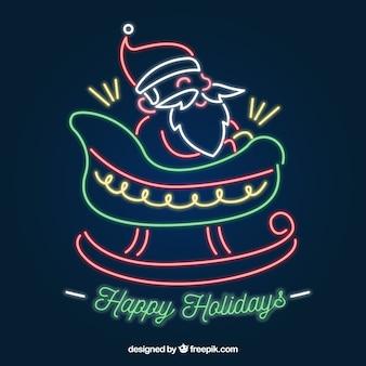 Neon sata claus on a sleigh