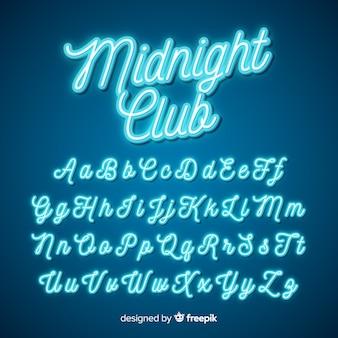 Neon script alphabet