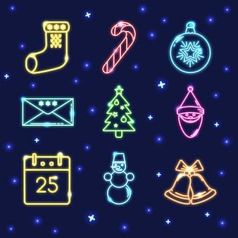 Neon set of christmas icons
