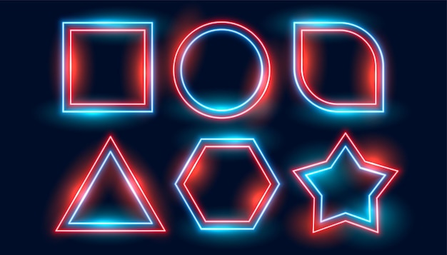 Neon set frames in six geometric shapes style